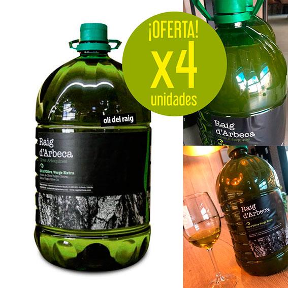 Oferta Oli del Raig, sin filtrar 4 garrafas 5 litros