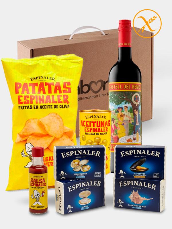Pack Aperitivo Gourmet con Vermut Castell del Remei y conservas Espinaler